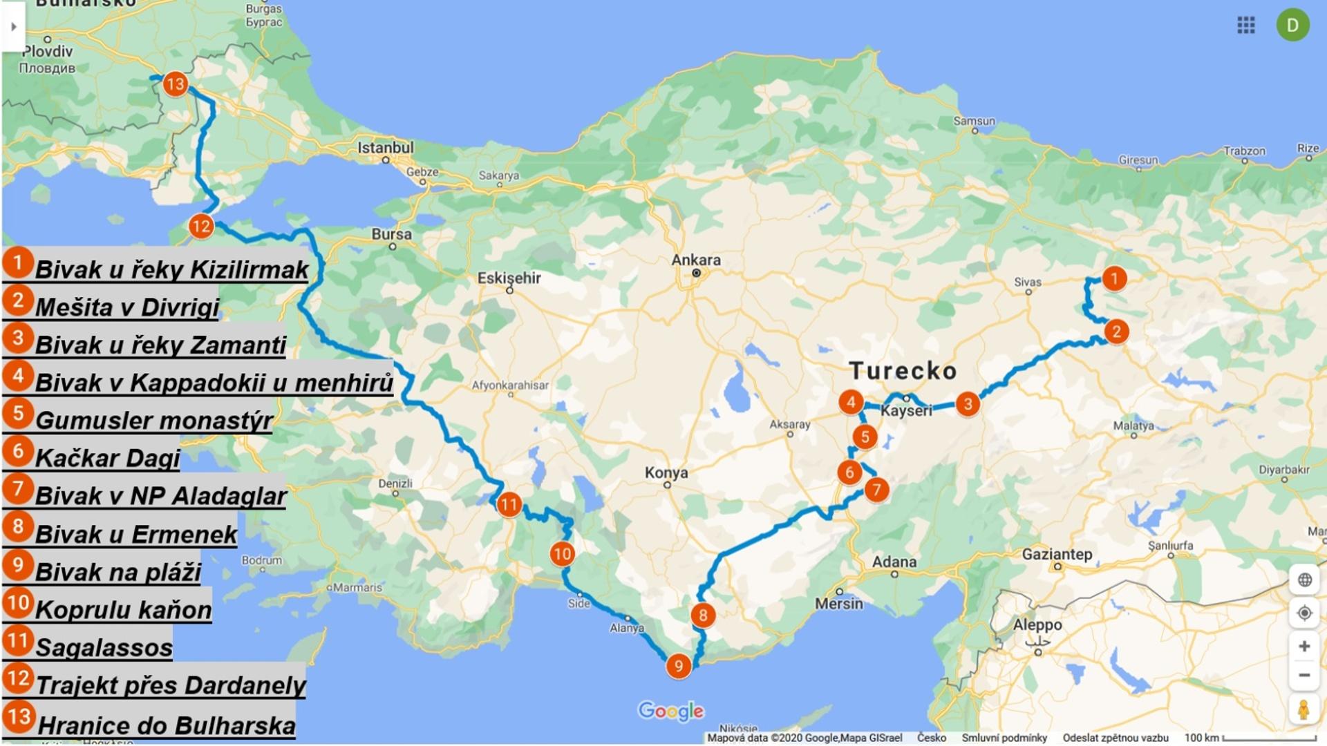 Mapa Turecko jih
